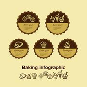 sweetness and baking infographic Doodle - stock illustration