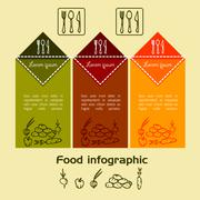 food vegetable color infographic Doodle - stock illustration