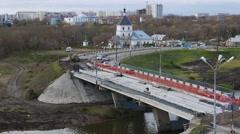 Russia, Tver, bridge establishing shot Stock Footage