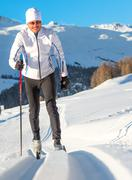 Cross-country skiing alternate - stock photo