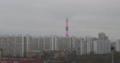 Fog in Ostankino Tower. Free-standing television  and radio  tower in Moscow Stock Footage