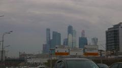 Establishing shot of smog on Berejkovskiy Bridge with car traffic, moscow city Stock Footage