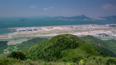 View from the mountain on an artificial island and an international airport. Stock Footage