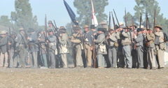 Blue & Grey Civil War Reenactment Confederate Line Firing Stock Footage