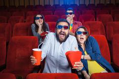 Stock Photo of The people's emotions in the cinema
