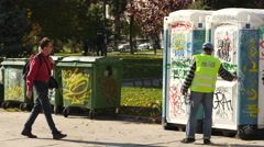 People use a composting toilets in the city center of Sofia, Bulgaria Stock Footage