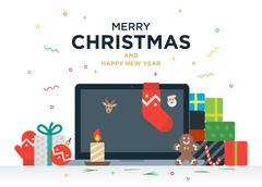 Laptop with gifts, candles, red ball and Christmas socks on the screen Stock Illustration