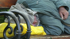 Homeless person zoom out Stock Footage