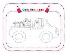 Illustration of Santa Claus driving car with Christmas gifts Stock Illustration
