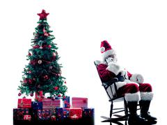 santa claus Telephones silhouette isolated - stock photo