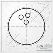 Vector bowling ball icon - stock illustration
