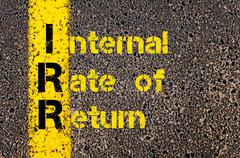 Business Acronym IRR as Internal rate Of Return Stock Photos