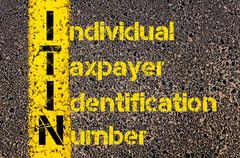Business Acronym ITIN as Individual Taxpayer Identification Number - stock photo