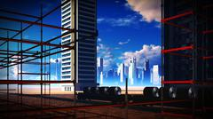 Construction site at sunset Stock Illustration