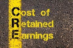 Business Acronym CRE as Cost of Retained Earnings - stock photo