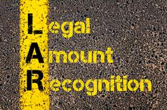 Business Acronym LAR as Legal Amount Recognition - stock photo