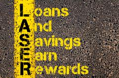 Business Acronym LASER as Loans And Savings Earn Rewards Stock Photos