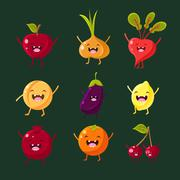 Cheerful fruit and vegetables. Food with cute faces, happy - stock illustration