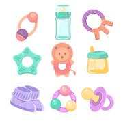 Baby accessories set. Cute design, pastel colors - stock illustration