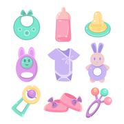 Baby accessories set. Cute design, pastel colors Stock Illustration