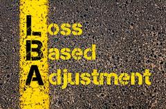 Business Acronym LBA as Loss Based Adjustment - stock photo