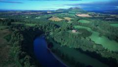 Aerial view over Scott's View, Scottish Borders Stock Footage