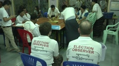 Burma Election Observers Stock Footage