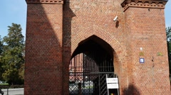 Market Gate, Old City in Elblag, Poland Stock Footage