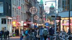 People walking in Amsterdam, Holland Stock Footage