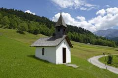 Stock Photo of Chapel on mountain at Graseck GarmischPartenkirchen Werdenfelser Land Upper