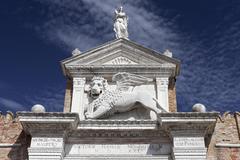 Stock Photo of Venetian winged lion at arsenal gateway Castello Venice Veneto Italy Europe