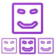 Purple line happy logo design set Stock Illustration