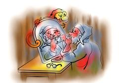 Santa Klaus in front of mirror - stock illustration