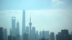 Shanghai city time lapse,heavy air pollution,china Stock Footage