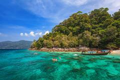 snorkel diving at Koh Lipe of Andaman sea, Thailand - stock photo