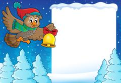 Stock Illustration of Christmas owl theme frame - eps10 vector illustration.