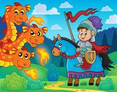 Knight on horse and lurking dragon - eps10 vector illustration. Stock Illustration