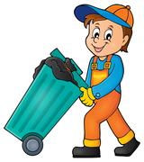 Stock Illustration of Garbage collector theme image - eps10 vector illustration.