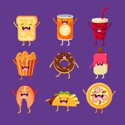 Fun fast food. Dishes with cute faces, happy - stock illustration