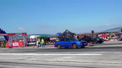 Sport car drag challenge at race track Kondofrey in Bulgaria Stock Footage