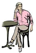 man sitting in cafe - stock illustration
