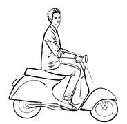 Stock Illustration of man driving scooter