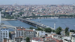 Landscape with wide road and cars against Ataturk Bridge Stock Footage