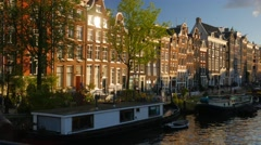Pan across the Singel Canal in Amsterdam Stock Footage