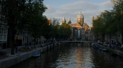 St Nicholas Basilica in Amsterdam at Sunset Stock Footage