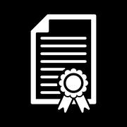 The diploma icon. Certificate symbol. Flat - stock illustration