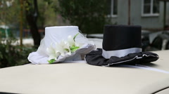 Wedding decorations on the car Stock Footage