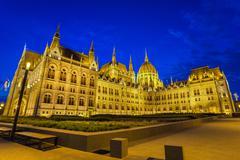 Hungarian Parliament at night - Budapest - Hungary - stock photo