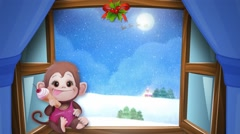 Snowy day at Christmas and New Year. Christmas monkey Stock Footage