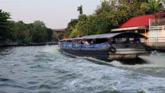 Bangkok waterway and fast speed riverboat ride - stock footage